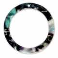 Loop pendant in cellulose acetate 34.5 mm Tortoise Shell Green/Black x1