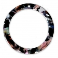 Loop pendant in cellulose acetate 34.5 mm Tortoise Shell Pink/Black x1
