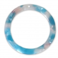 Loop pendant in cellulose acetate 34.5 mm Tortoise Shell Pink/Blue x1