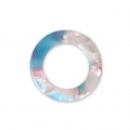 Loop pendant in cellulose acetate 21 mm Tortoise Shell Pink/Blue x1