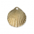 Seashell charm 15 mm Satin Gold Tone x1