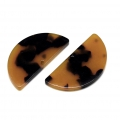 Half moon pendant in cellulose acetate 22.5x11 mm Tortoise Shell Brown/Black x1