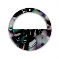 Round pendant in cellulose acetate 28 mm Tortoise Shell Green/Black x1