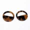 Round pendant in cellulose acetate 28 mm Tortoise Shell Brown/Black x1