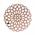 Rosette-shaped pendants 25 mm for fancy jewelry creation - Rose Gold Tone x4