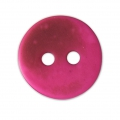 Sewing round button 2 holes mother-of-pearl appearance 12 mm Fuchsia x1