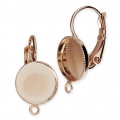 Earwire/leverback with cabochon setting for 10mm flat back cabochon - Rose Gold x2