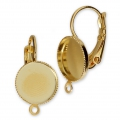 Earwire/leverback with cabochon setting for 10mm flat back cabochon - Gold x2