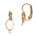 Earwire/leverback with cabochon setting for 6x8mm flat back cabochon - Gold x2