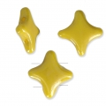 Star Beads glass beads by Perles and Co 11x11 mm Opaque Jaune Ceramic Look x30