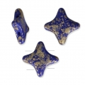 Star Beads glass beads by Perles and Co 11x11 mm Op Sapphire Gold Splash x30