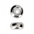 Metal stopper bead 8x4 mm with 2 mm hole - Rhodium Tone x1
