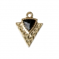 Triangle charm with an imitation Black Howlite synthetic stone 15x11.5mm Gold Tone