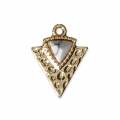 Triangle charm with an imitation Howlite synthetic stone 15x11.5 mm Gold Tone
