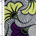 Wax Fabric - Wedding Flowers - Violet  / Yellow x10cm