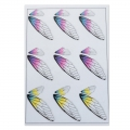 2 printed boards with butterfly wings for resin jewelry - Violet/Yellow