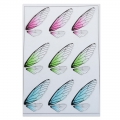 2 printed boards with butterfly wings for resin jewelry - Blue/Green/Pink