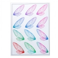 2 printed boards with butterfly wings for resin jewelry - Red/Green x1