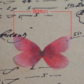Butterfly without hole 50x30 mm Light Red/Brown x1