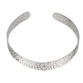 Hammered 925 silver bracelet 10 mm with a loop x1