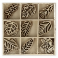 Assortment of mini silhouettes wooden leaves 29 mm Natural x27