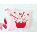 Cotton pouch with zipper make-up kit format  17x14cm Pastel Pink x1