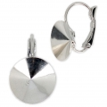 Leverback Earrings for Swarovski Cabochons 1122 Rivoli 14 mm Rhodium Tone x2