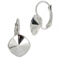 Leverback Earrings for Swarovski Cabochons 4470 12 mm Rhodium Tone x2