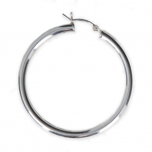 5520303a8 925 Sterling Silver earring hoops to decorate 40 mm x 3 mm x2 - Perles & Co