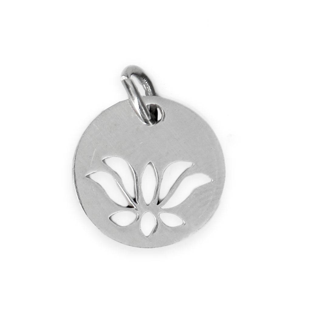 Stainless Steel Lotus Flower Charm 12 Mm X1 Perles Co
