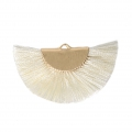 Fan/half moon pendant with fringes 25x47 mm Ivory/Gold Tone x1