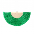 Fan/half moon pendant with fringes 25x47 mm Green/Gold Tone x1