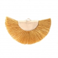 Fan/half moon pendant with fringes 25x47 mm Mustard/Gold Tone x1