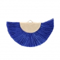 Fan/half moon pendant with fringes 25x47 mm Blue/Gold Tone x1