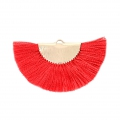 Fan/half moon pendant with fringes 25x47 mm Red/Gold Tone x1