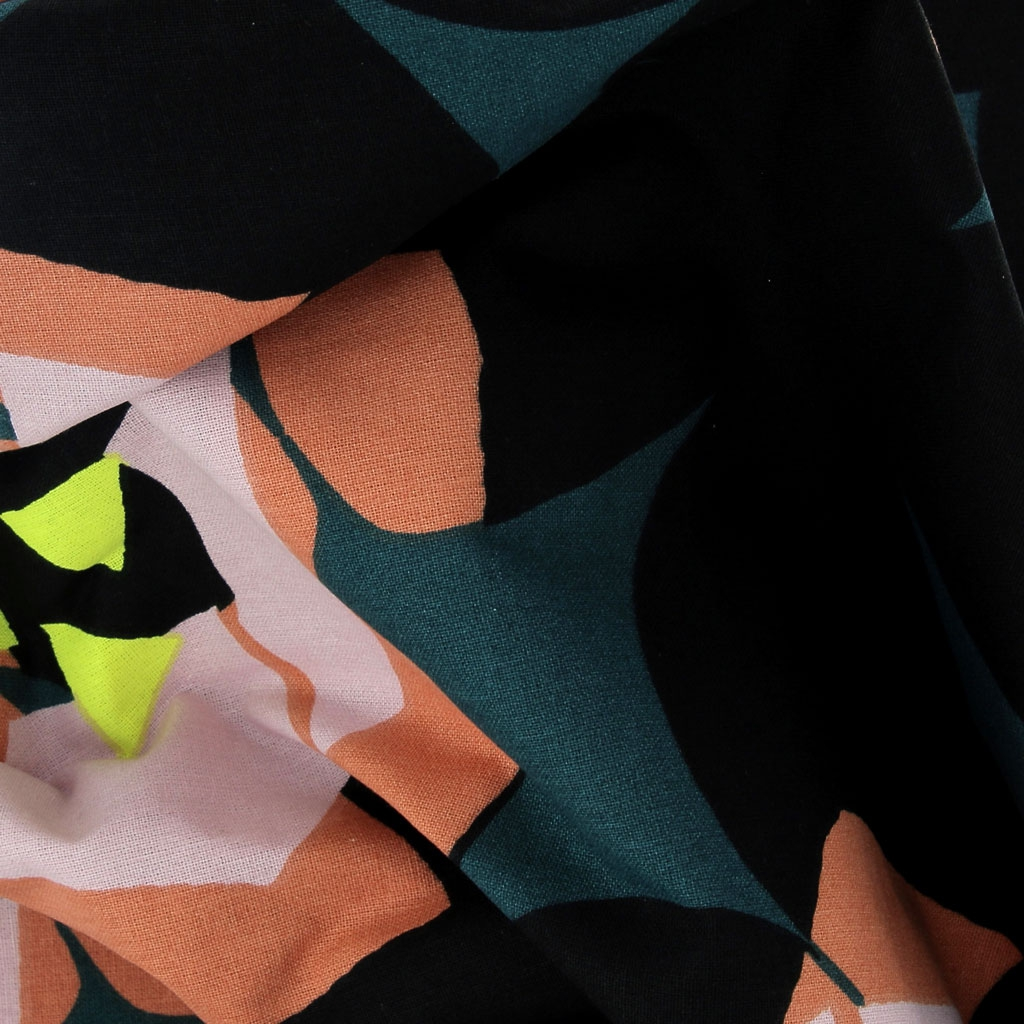 203e348214a ... Cotton fabric - Okina Hana - Flowers - Black/Pink/Yellow/Orange x10cm  ...