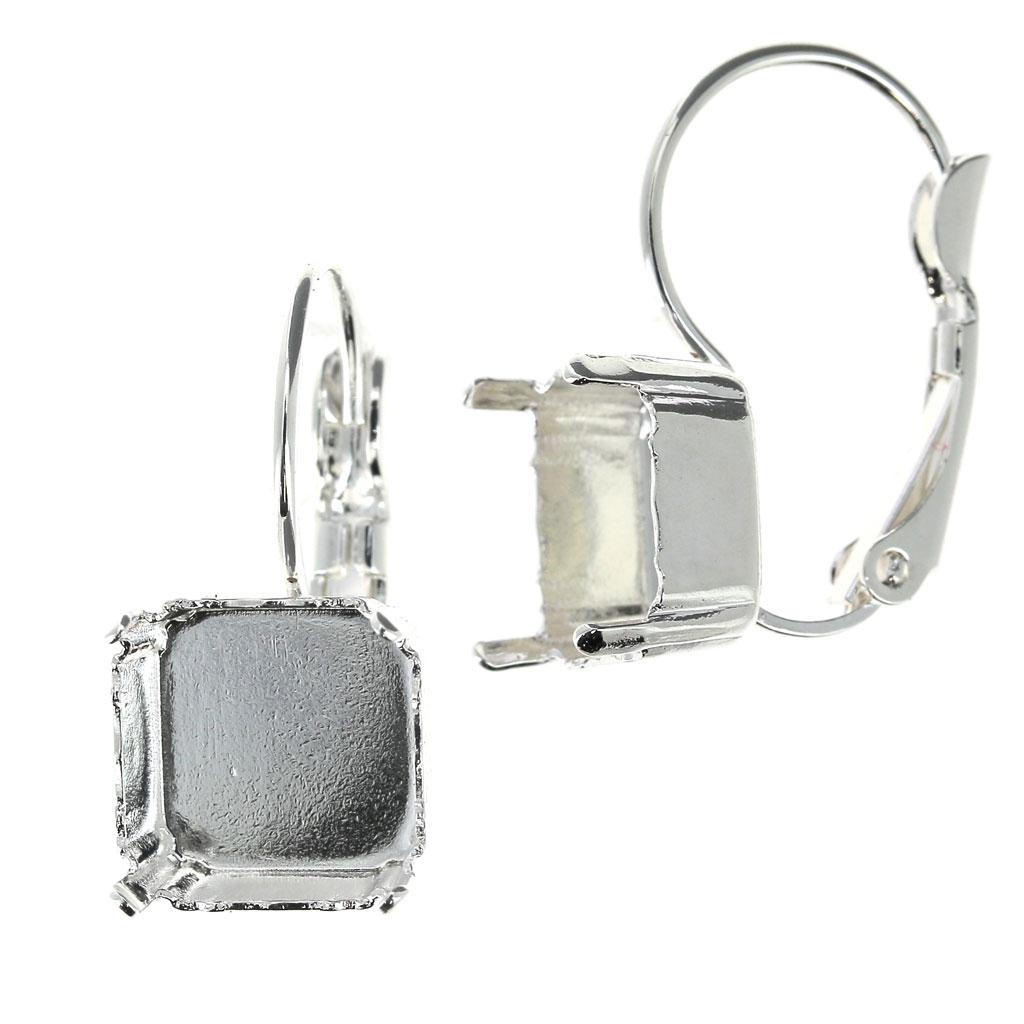 f1b4a04bd71ff Leverback Earrings for Swarovski Imperial cabochon 4480 10 mm Silver Tone x2