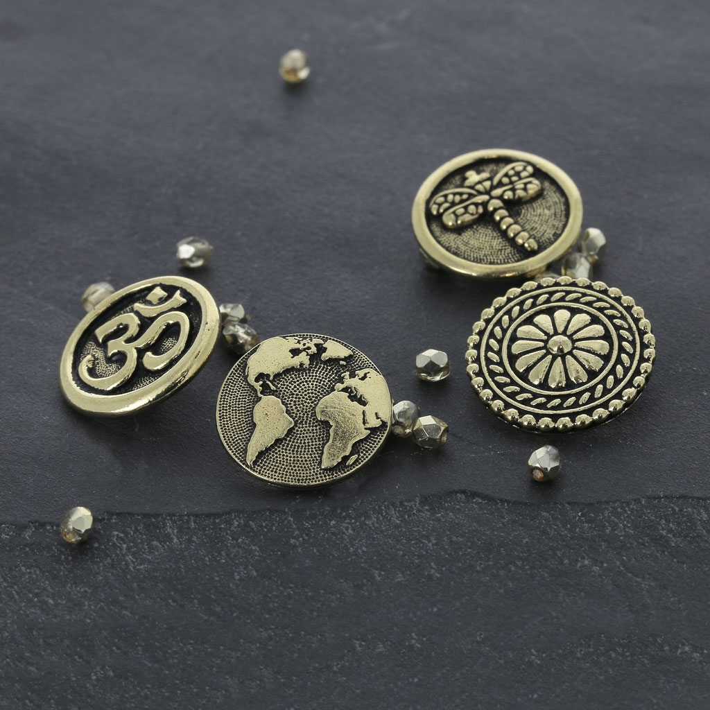 Metal Button For Sewing Wrap Bracelet World Map 16 Mm Antique