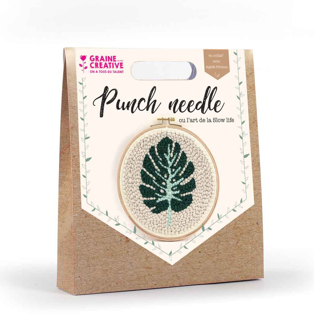 Double sided abstract leaf punch needle embroidery kit