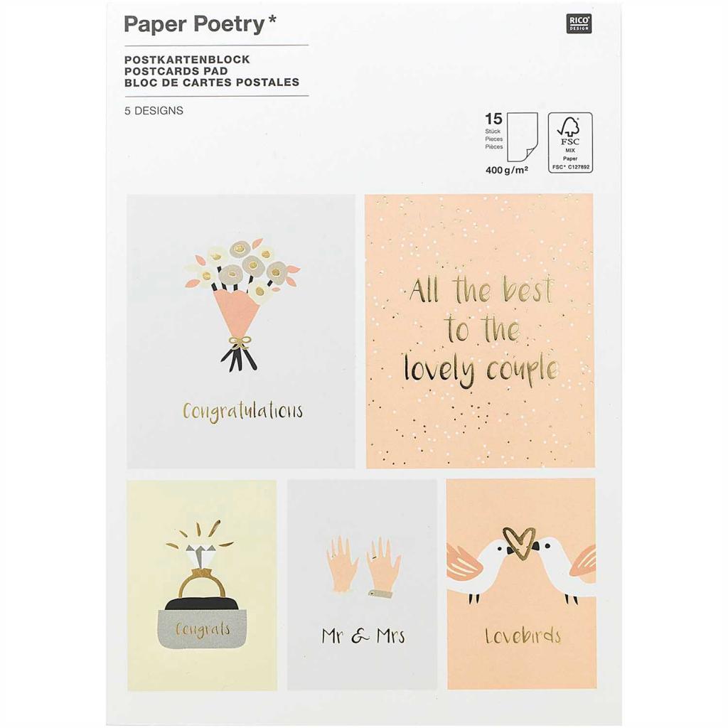 d513424d8fc4c Paper Poetry Postcards pad 18x13 cm Wedding x15 - Perles & Co