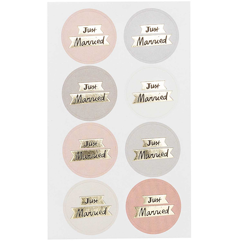 Assortment of 32 round wedding stickers 30 mm paper poetry just married x1