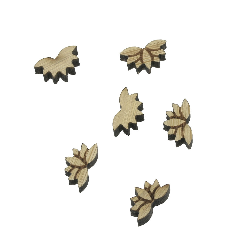 Mini Laser Cut Wooden Cabochon Lotus Flower Shape To Decorate
