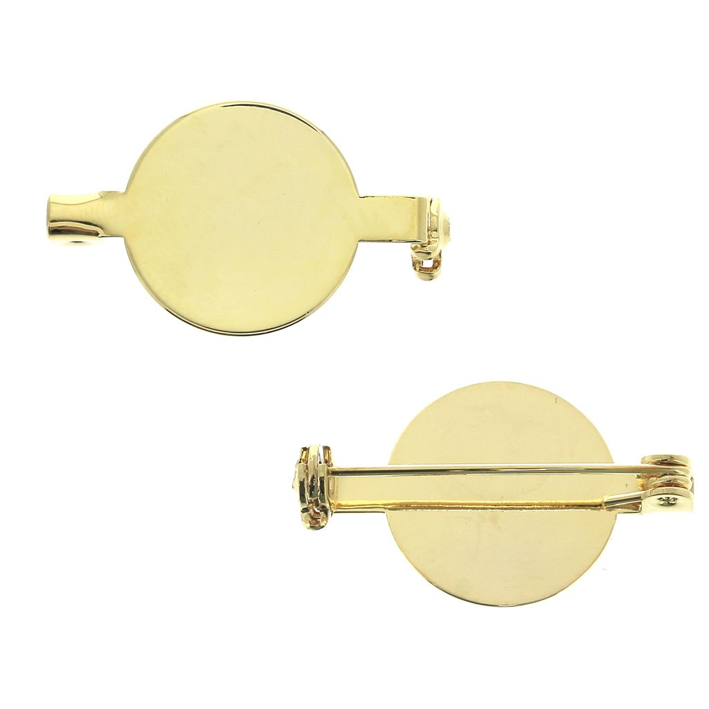 Round Pin back for a 16 mm cabochon - Gold Tone x1