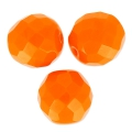 Fire Polished faceted round beads 12mm Tangerine x5