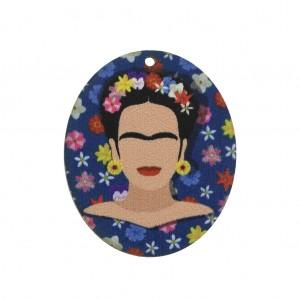 Wooden Frida Kahlo oval pendant 45x37 mm - Blue/White x1