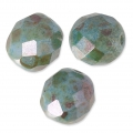 Fire Polished faceted round beads 8mm Marbled Green/Grey x20
