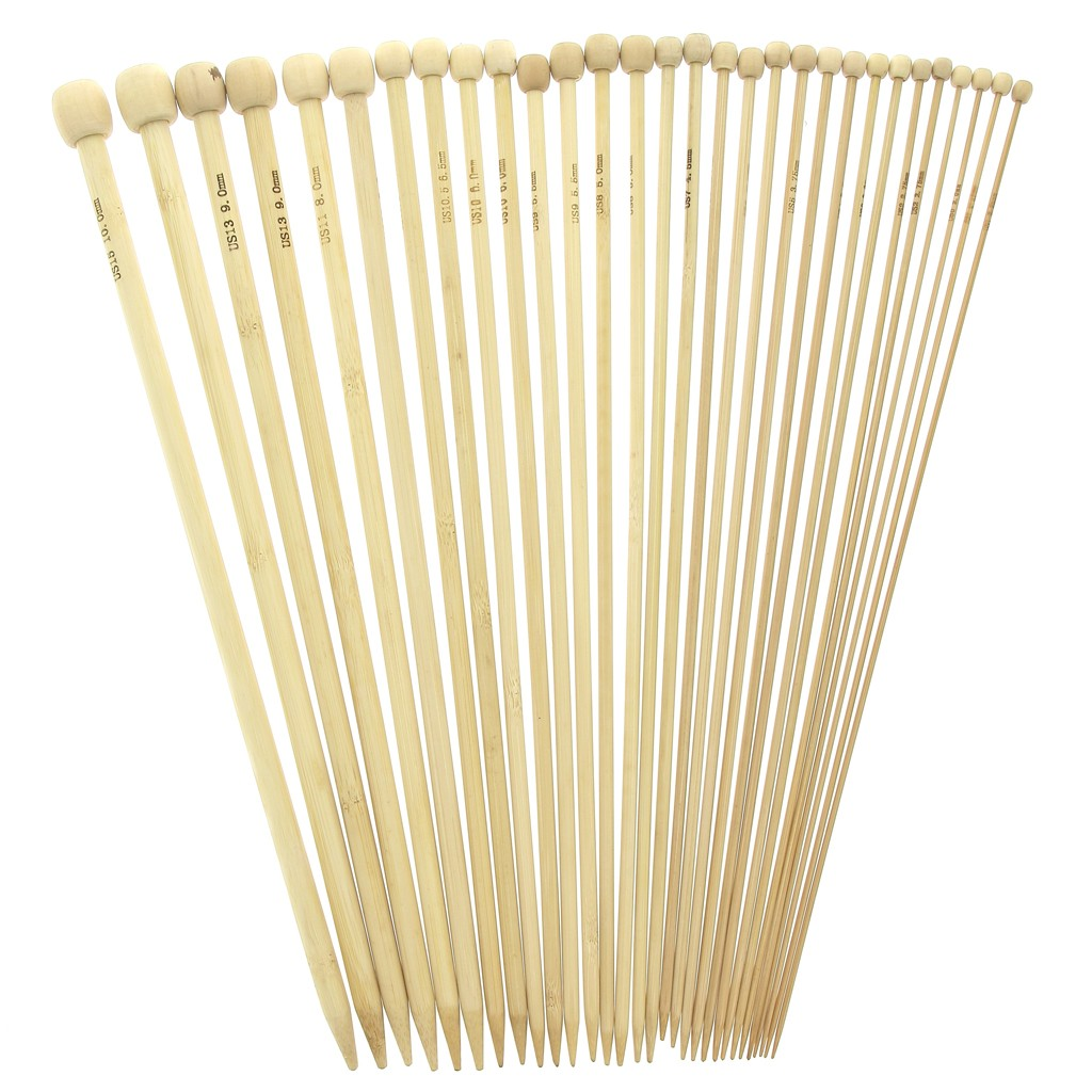 im Assortment of 15 bamboo knitting needles 2mm to 10mm Natural