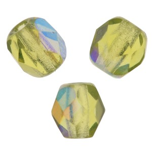 Fire Polished faceted round beads 4mm Olivine AB x50