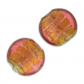 Silver foil flat rounds 14mm Rose/Topaz x4
