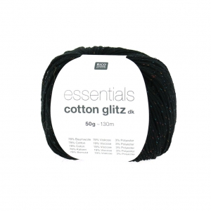 Wool Essentials Cotton Glitz Dk blackx 50g